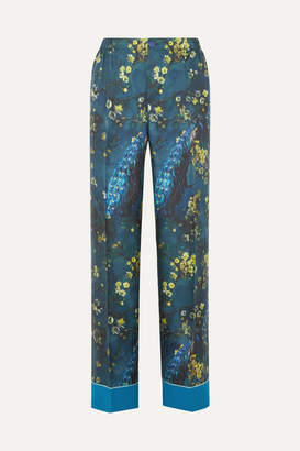 F.R.S For Restless Sleepers Etere Printed Silk-satin Twill Straight-leg Pants - Blue