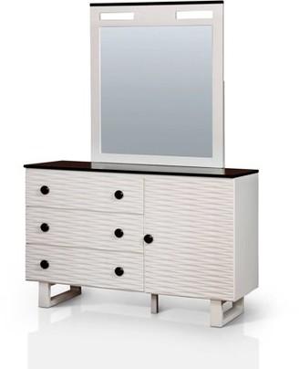 Furniture of America Kelsin Two Tone Youth Dresser and Mirror Set, Dark Walnut & White