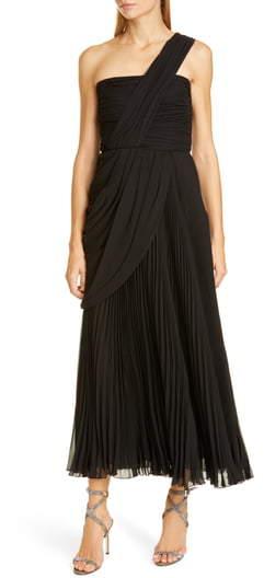 Giambattista Valli One-Shoulder Pleat Midi Evening Gown