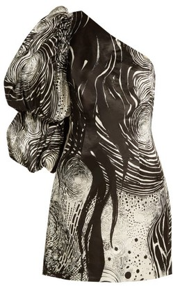 Aje - X Brett Whiteley Starry Night-print Dress - Womens - Black White