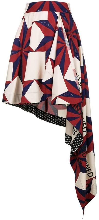 mixed-print asymmetric skirt