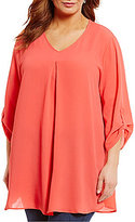 Bobeau Plus 3/4 Sleeve V-Neck Top
