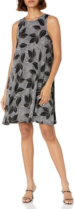 Kasper Women's Tropical GEO Puff Printed Knit Sleeveless Dress