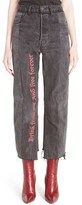 Vetements Women's Reworked Embroidered Crop Jeans