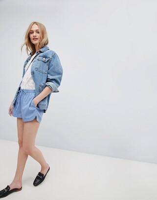 Blend She Mally Print Shorts-Blue
