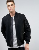 Asos Wool Mix Bomber Jacket With MA1 Pocket In Black