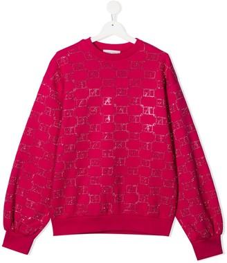 Alberta Ferretti Kids Beaded Logo Sweatshirt