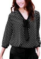 Allegra K Woman 3/4 Sleeves Tie-Bow Neck Polka Dots Prints Blouse XS