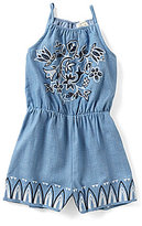Blu Pepper Big Girls 7-16 Embroidered Denim Romper
