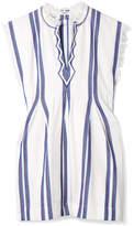 Etoile Isabel Marant Denize Frayed Striped Woven Cotton Top - White