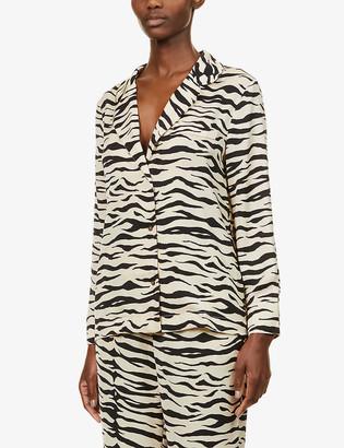 LOVE Stories Jeanne zebra-print satin-crepe pyjama shirt