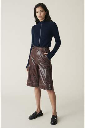 Ganni Snake Foil Leather High-Waist Shorts