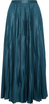 Golden Goose Deluxe Brand Liza Striped Plissé Coated-jersey Maxi Skirt - Turquoise