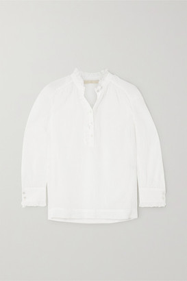 Vanessa Bruno Nina Ruffled Cotton And Silk-blend Crepon Blouse