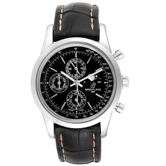 Breitling Black Leather and Stainless Steel Transocean Chronograph Moonphase A19310 Men's Wristwatch 43MM