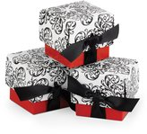 Hortense B. Hewitt Wedding Accessories Favor Boxes, Black and White Filigree with , 25-Pack