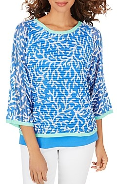 Foxcroft Marcy Coral Reef Print Sweater with Tank Top
