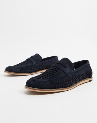 Silver Street casual slip on loafer in navy suede