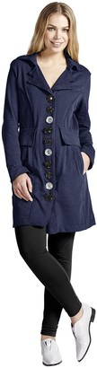 Neon Buddha Women's Lightweight Cotton Jacket Female Long Blazer with Contrasting Buttons and Pockets