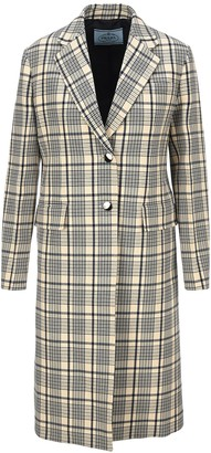Prada Check Print Single-breasted Coat