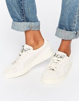 Puma Classic Suede Basket Sneakers In Beige With Jewel Detail