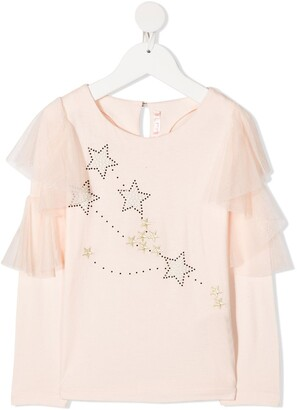 Billieblush Star-Print Long-Sleeve T-Shirt