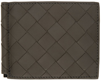 Bottega Veneta Grey Intrecciato Money Clip Wallet