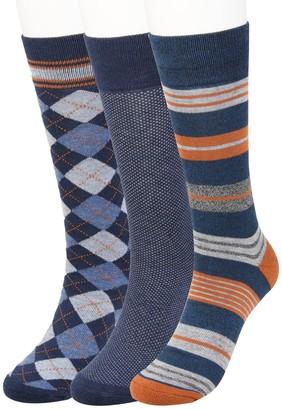 Haggar Big & Tall Comfort Stripe Patterned Socks (3 pack)