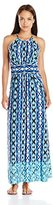 London Times Women's Petite Ikat Stripe Halter Maxi Dress