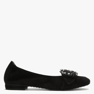 Kennel + Schmenger Malu Black Suede Embellished Buckle Ballet Pumps
