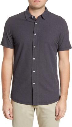Robert Barakett Broderick Short Sleeve Knit Button-Up Shirt