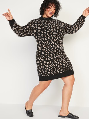 Old Navy Leopard-Print Mock-Neck Plus-Size Sweater Shift Dress
