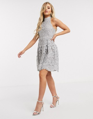 Girl In Mind crochet high neck mini dress in light grey