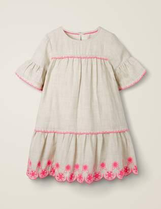 Drop-Waist Broderie Hem Dress