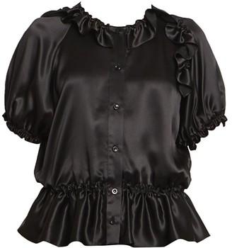 Simone Rocha Bubble Silk Satin Button-Front Blouse