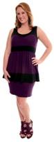Black and Purple Peplum Knit Tank Dress