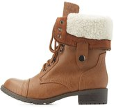 Charlotte Russe Shearling-Lined Combat Boots
