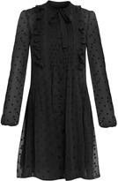 Polka Dot Shirt Dress With Frill Detail In Black
