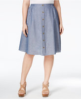 ING Trendy Plus Size Button-Front Chambray Skirt