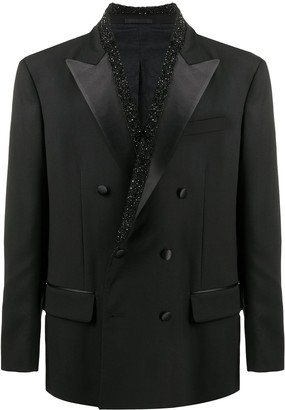 Versace Crystal-Embellished Double-Breasted Blazer