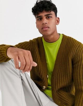 Asos Design DESIGN heavyweight fisherman rib cardigan in khaki-Green