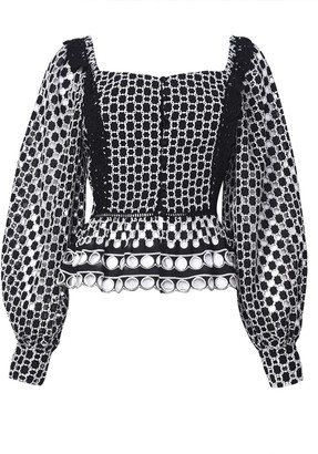 True Decadence Black White Broderie Square Neck Button Front Top