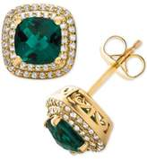 Macy's Lab-Created Emerald (1-1/2 ct. t.w.) & White Sapphire (1/3 ct. t.w.) Stud Earrings in 14k Gold-Plated Sterling Silver
