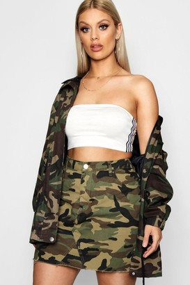 boohoo Plus Camo Denim Skirt
