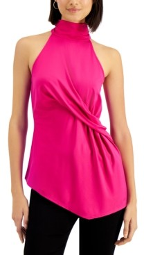 INC International Concepts Inc Petite Draped Halter Top, Created for Macy's