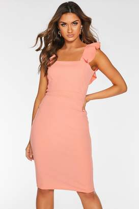 Quiz Coral Frill Sleeve Midi Dress