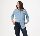 Haute Hippie Tribe 'Lucia' Denim Blouse with Floral Embroidery