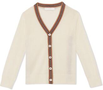 BURBERRY KIDS Icon Stripe Detail Merino Wool Cardigan
