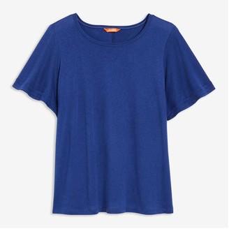 Joe Fresh Women+ Flutter Sleeve Tee, Blue (Size 1X)