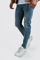 boohoo Mens Blue Skinny Jeans With Abrasions, Blue